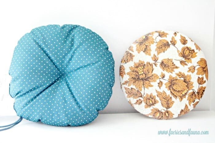 An original and a cushy new seat for a vintage stool. How to fix a vintage stool, repairing a vintage stool, upcycled furniture, furniture for cheap, craft room makeover projects