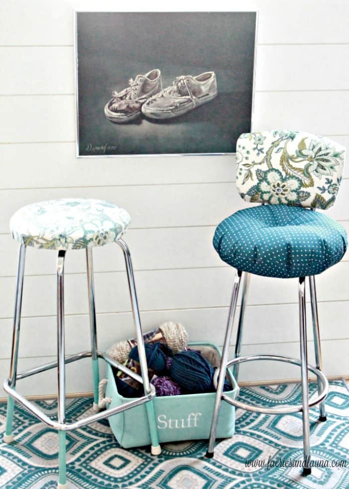 Two different vintage stools that have been refurbished for a craft room. How to fix a vintage stool, repairing a vintage stool, upcycled furniture, furniture for cheap, craft room makeover projects
