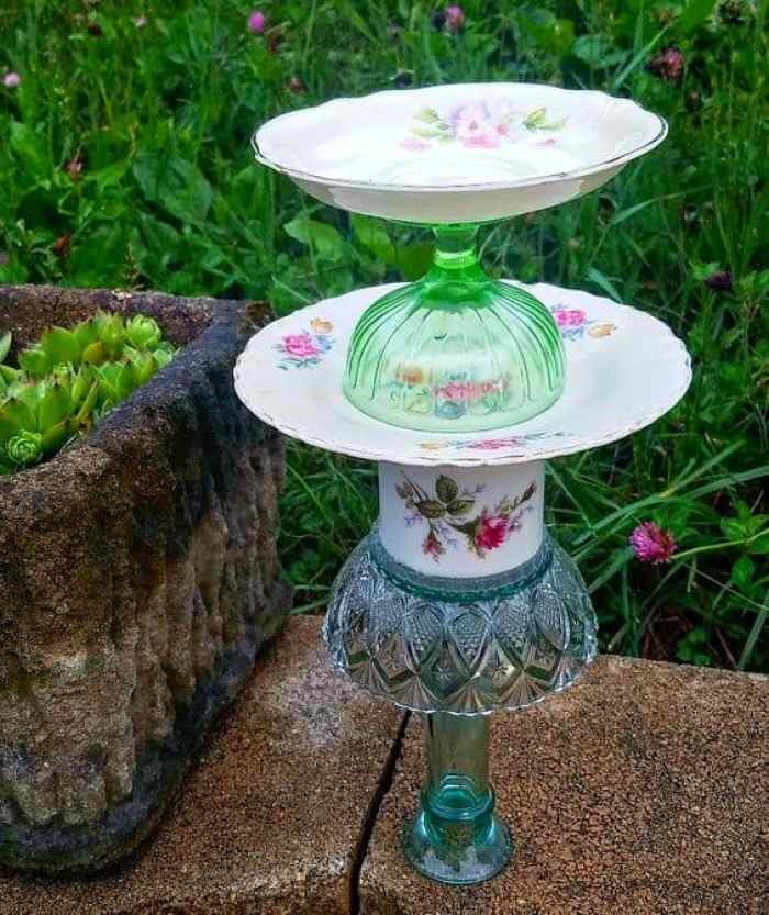 Vintage Dish Bird Feeder Feature from Waste Not Wednesday Link Party