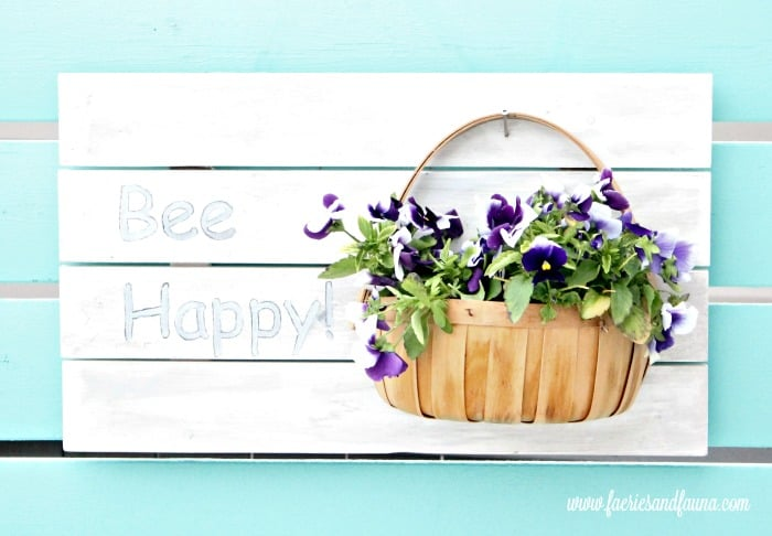 DIY Planter Idea with Bee Happy Text and Pansy flowers