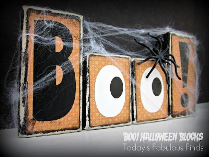 DIY Halloween Craft, Block wood Halloween sign that says Boo.