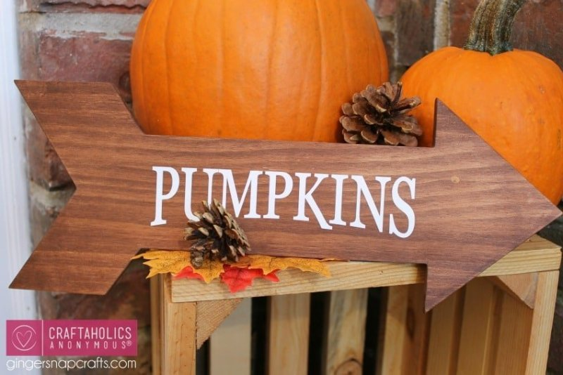Easy wood craft idea. Fall DIY pumpkin arrow.