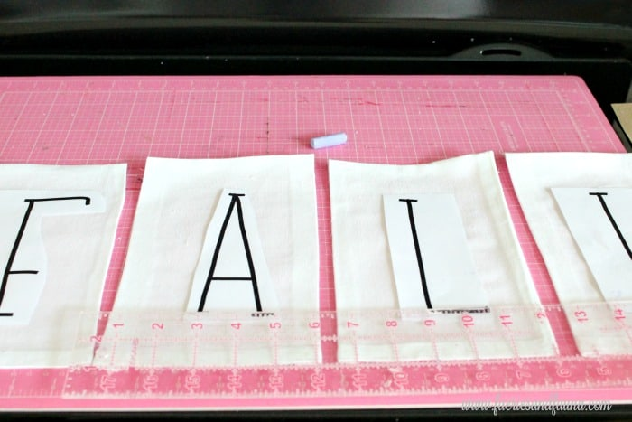DIY Banner letters spelling out FALL.