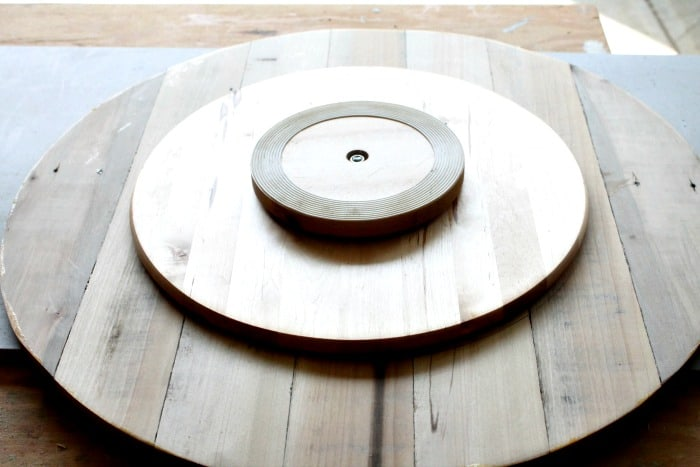 Marking the placement of a turntable on a large homemade lazy susan