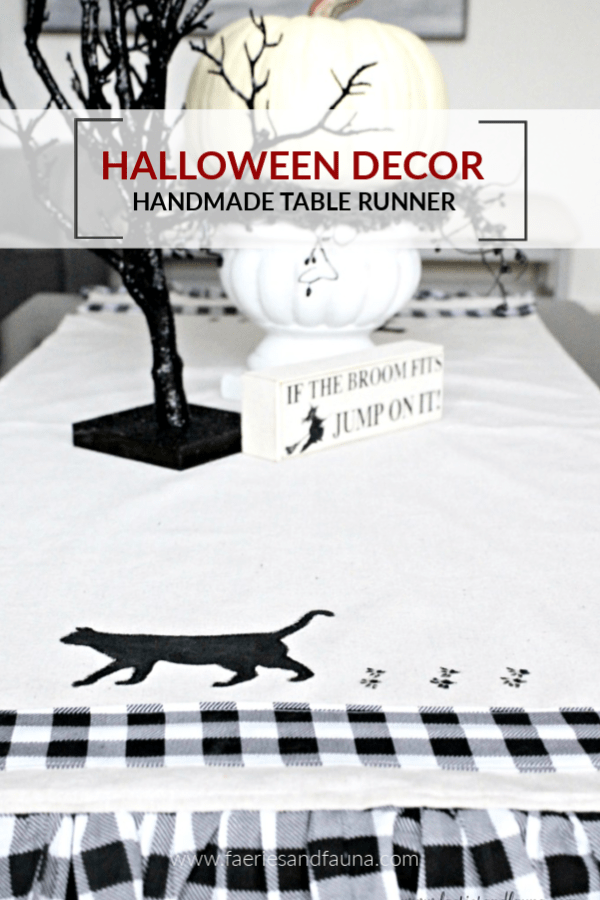 Halloween Decor Table Runner with Black Cat