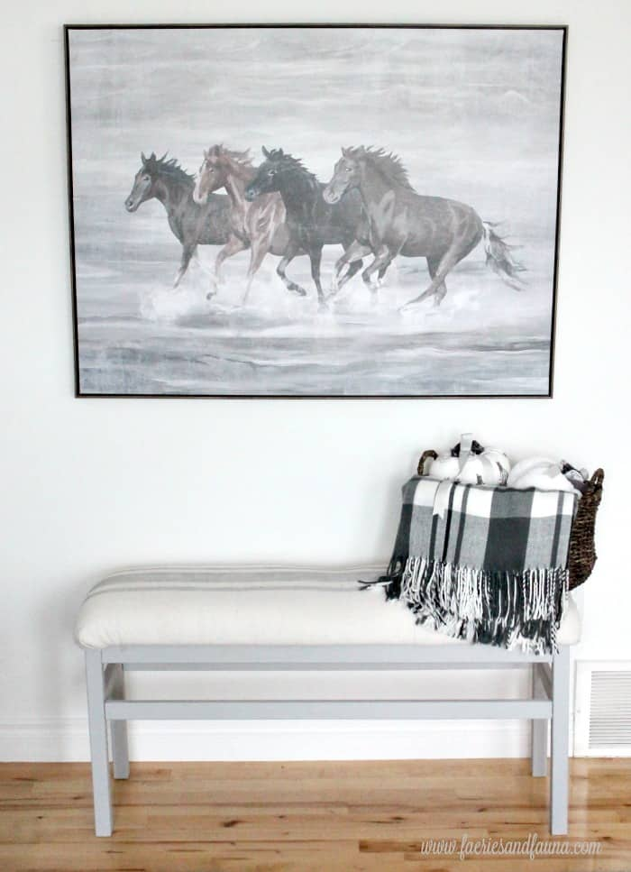 DIY farmhouse bench makeover, using chalk paint and drop cloth.