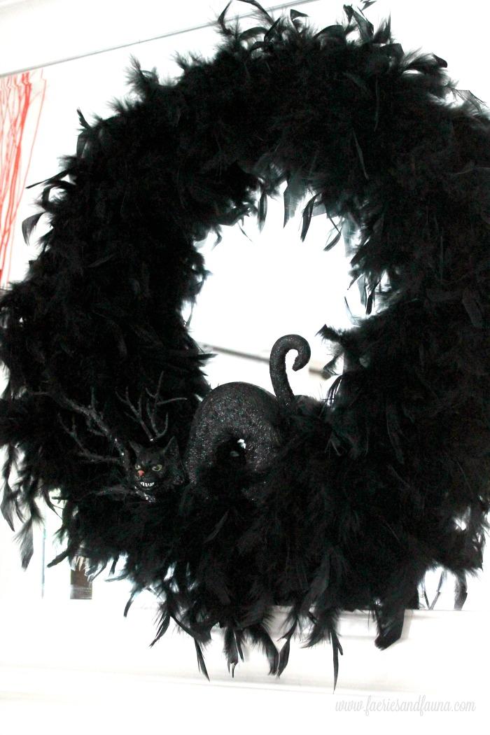 Halloween Craft idea and DIY black feathered wreath.
