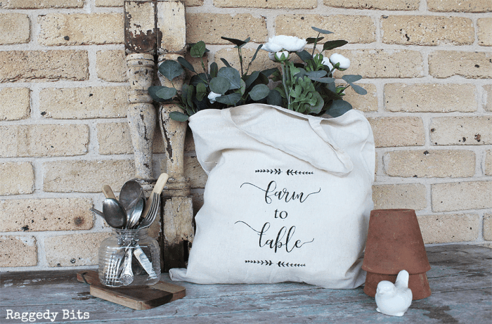 Waste Not Wednesday Feature - DIY painted shopping bag.