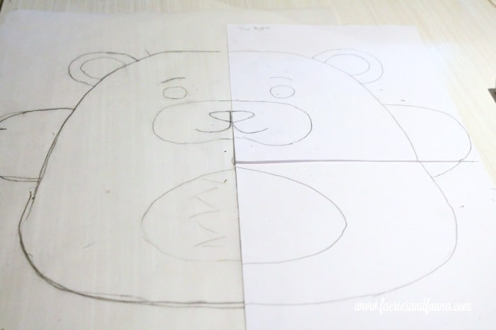 Using both halves of a teddy bear pattern to trace the face.