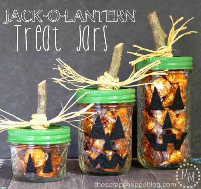 Waste not Wednesday feature Jack-o-Lantern jars