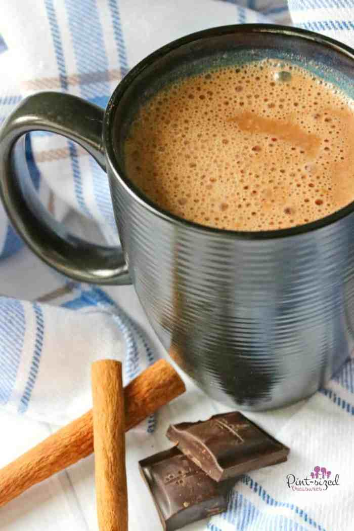 A Peppermint Hot Chocolate recipe served in a mug with chocolate and cinnamon