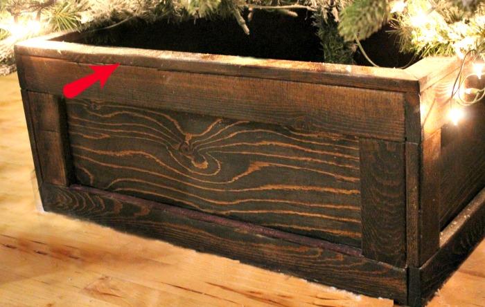 Top trim on DIY Christmas tree box