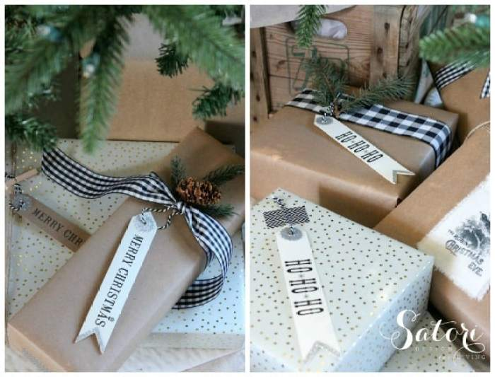 Rustic Glamorous Christmas Wrapping, How to wrap a present.