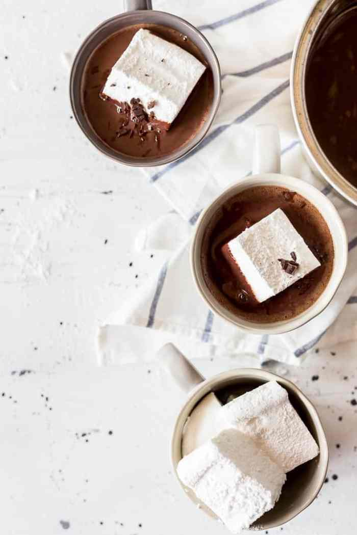 French hot chocolate recipes in a cup with marshmallows.