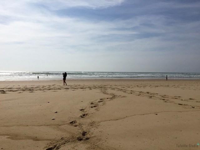 La plage et l'océan presque seuls