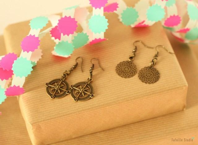 DIY boucles d'oreilles bronze