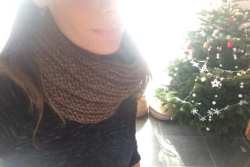 Mon snood tricoté en rond en point de godron
