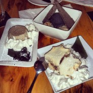 Desserts from Guu, clockwise from top: sesame ice cream, sake tiramisu, green tea cheesecake