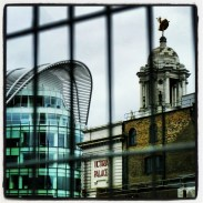 View of Victoria Palace through the construction fence at Victoria Station