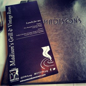 The DTDW menu at Madison's Grill
