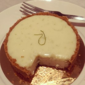 The key lime tart starting to be devoured. I think about this dessert all the time.