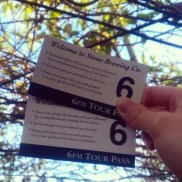 Our tickets for the tour of the Stone Brewery. $3 for the guide, a souvenir glass and tasters!