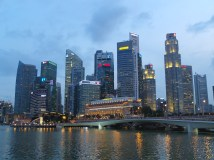 The Singapore skyline as it gets darker