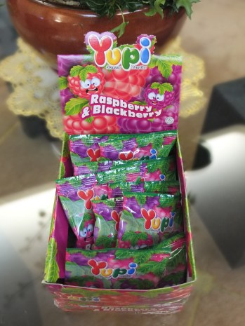 Yupi candies!! Thanks to my uncle, I came back with a suitcase full of gummy worms and berries.