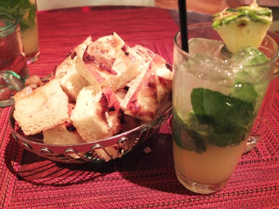 Pineapple mojito and onion bread