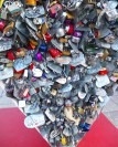 A love lock statue in front of the entrance.