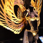 The Victoria's Secret window displaying runway looks from their annual fashion show.