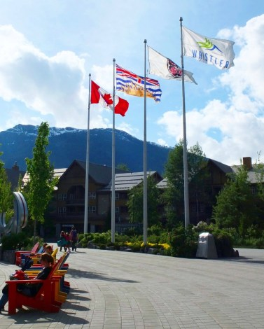 In Whistler Village. The wind perfectly positioned those flags for my photo.