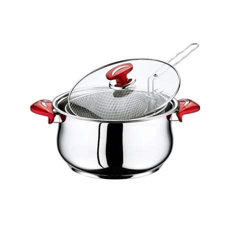 Kaserola sa staklenim poklopcem i rešetkom za pomfrit - PASHA Red 4007
