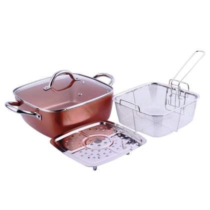 Macht 4 u 1 tiganj / pekač / friteza / steamer 24x24 - Copper pan TITAN CHEF 01 set