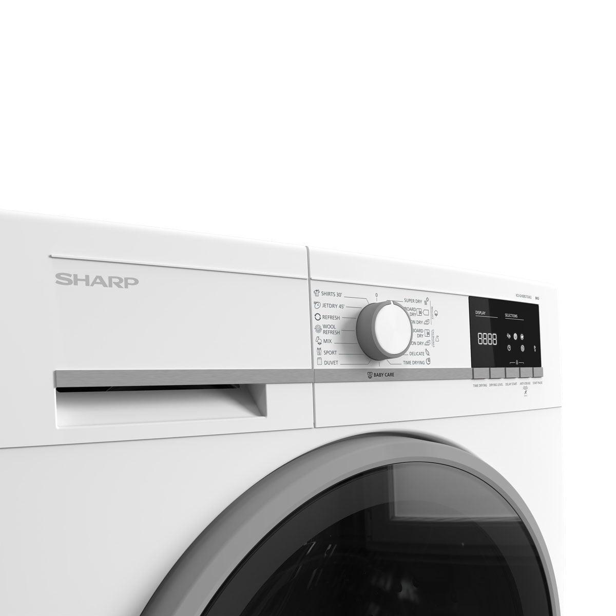 Sharp mašina za sušenje veša sa toplotnom pumpom 8 kg - KD-GHB8S7GW2 točak