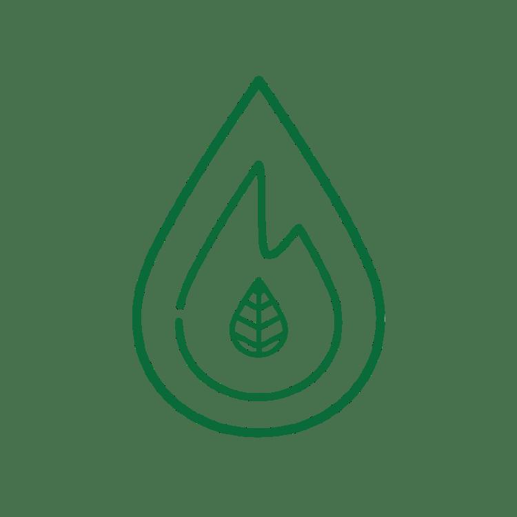 Het logo van Fagus Outdoor bestaat uit een druppel, vlam en beukenblaadje
