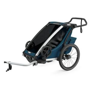 Thule Chariot Cross1 MajolicaBlue mit Deichsel