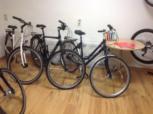Fahrradverpackung am Heizkörper, Farbmuster auf dem Tisch