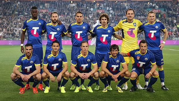 SYDNEY, AUSTRALIA - AUGUST 10: The A-League All Stars team line up before the match between the A-League All Stars and Juventus at ANZ Stadium on August 10, 2014 in Sydney, Australia. (Photo by Mark Metcalfe/Getty Images)
