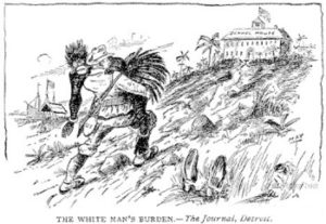 "A racist ""White Man's Burden"" cartoon that was published in the Detroit Journal"