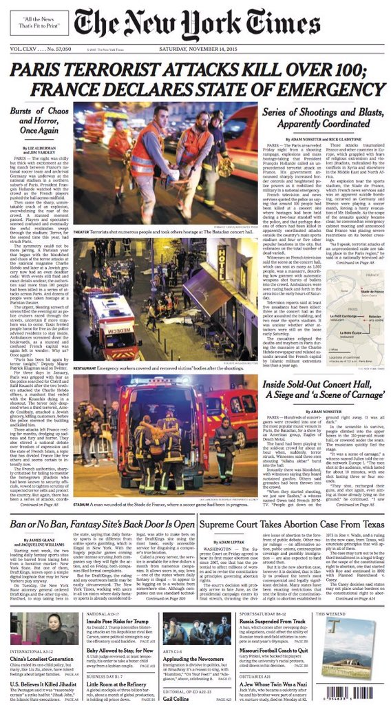 New York Times front page: Paris attacks