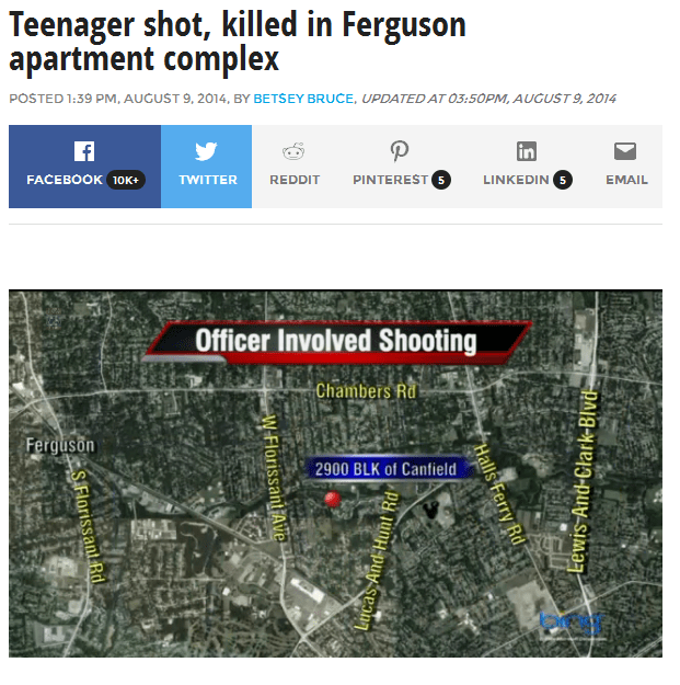 Fox: Teenager Shot, Killed in Ferguson Apartment Complex
