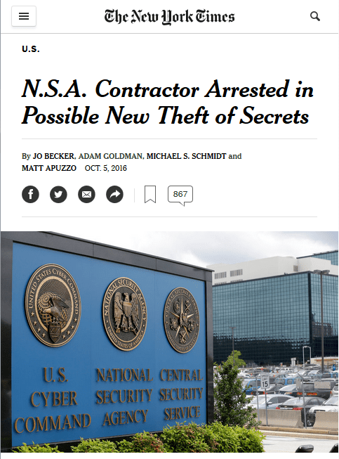 NYT: NSA Contractor Arrested in Possible New Theft of Secrets