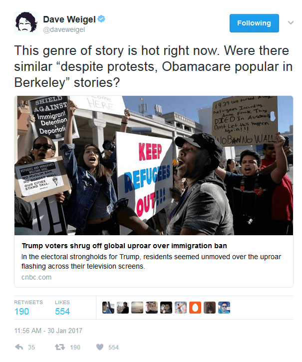 """Dave Weigel: Were there similar """"despite protests, Obamacare popular in Berkeley"""" stories?"""