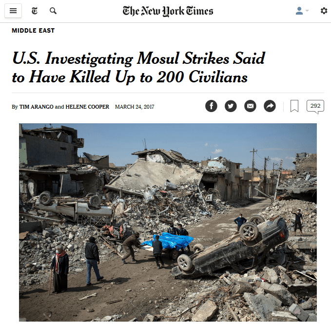 NYT: U.S. Investigating Mosul Strikes Said to Have Killed Up to 200 Civilians