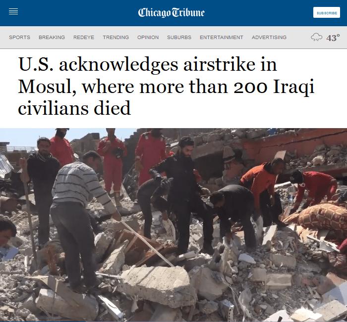 Chicago Tribune: U.S. acknowledges airstrike in Mosul, where more than 200 Iraqi civilians died