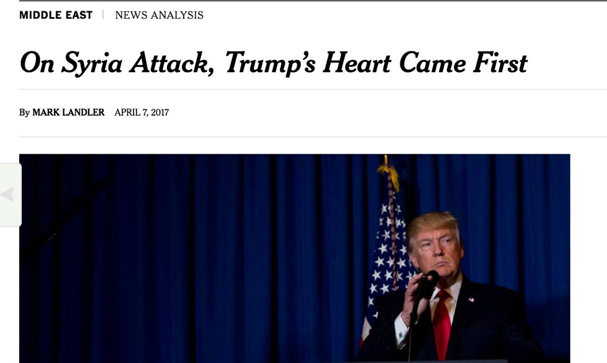 NYT: On Syria Attack, Trump's Heart Came First