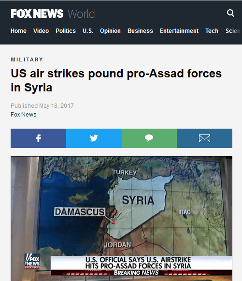 Fox News: US Airstrikes Pound Pro-Assad Forces in Syria