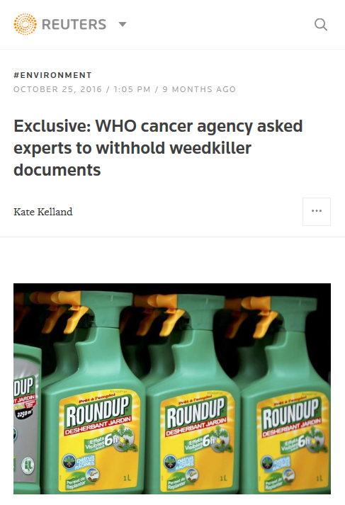 Reuters: WHO cancer agency asked experts to withhold weedkiller documents