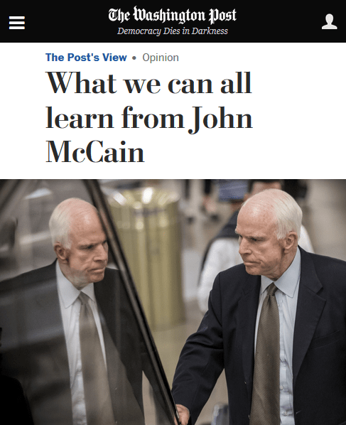 Washington Post: What We Can All Learn From John McCain